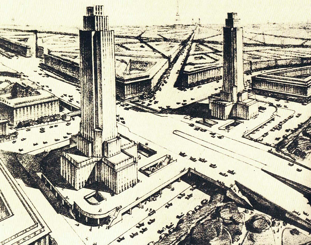 Projet de Viret Marmorat pour la porte Maillot, 1937