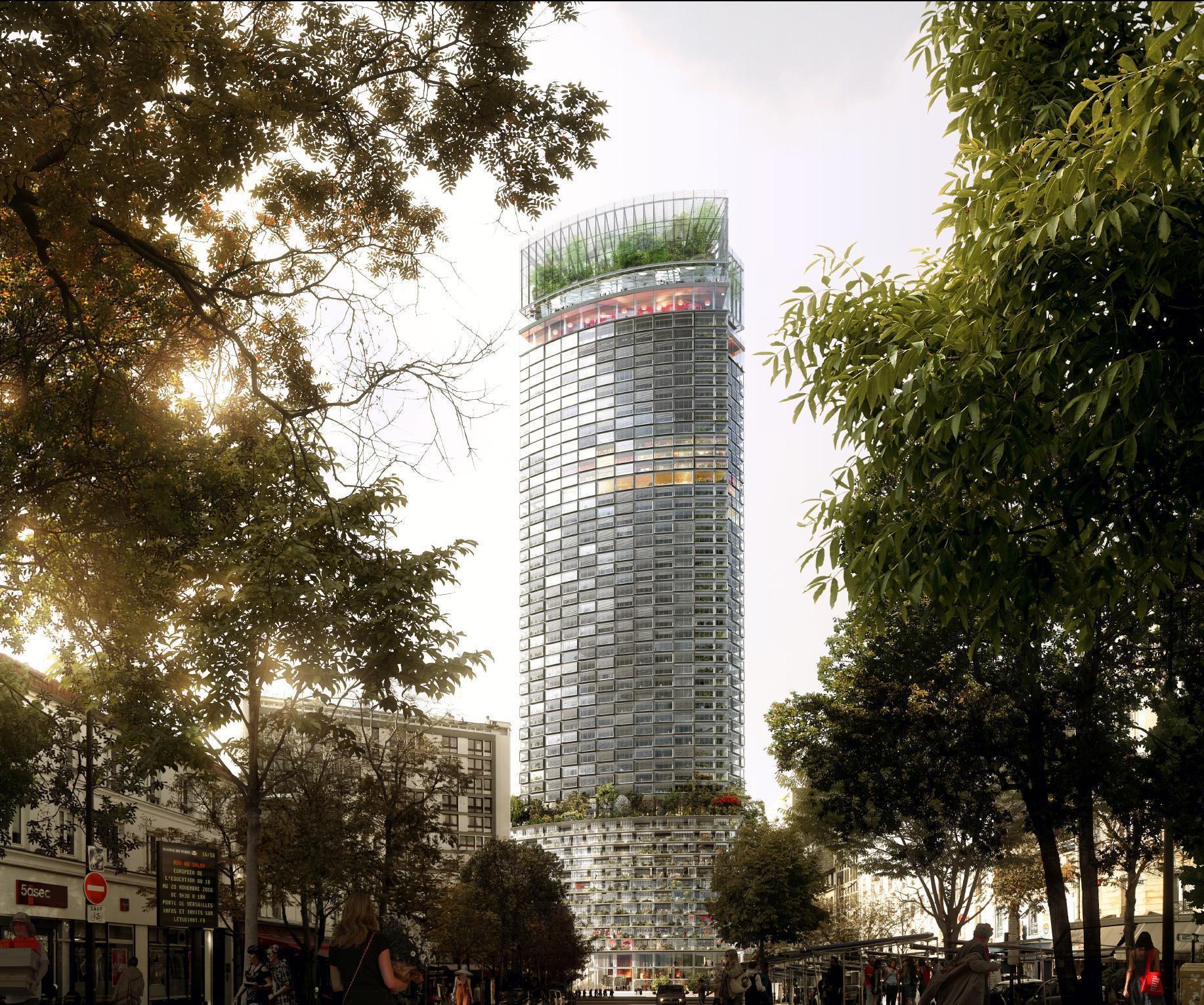 Plus épaisse, plus haute…Avec de la verdure pour faire passer la pilule. Vue officielle et donc idéalisée du projet de réhabilitation de la tour Montparnasse.