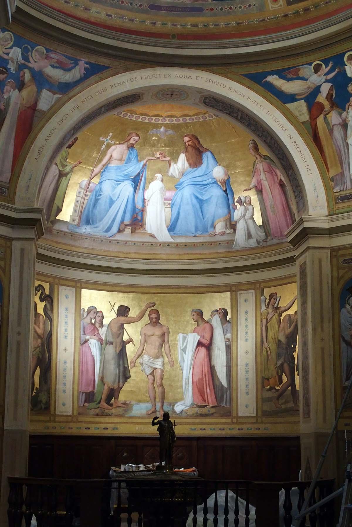 Restauration faite: Notre-Dame-de-Lorette, chapelle baptismale restaurée.