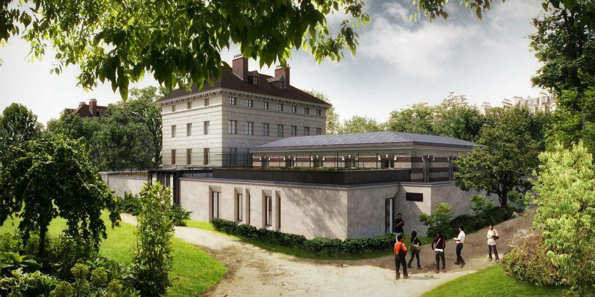 Vue (idéalisée) du projet empiétant sur le jardin public, place Denfert-Rochereau.